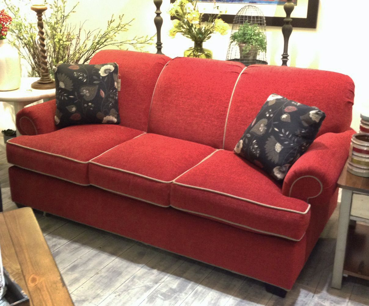 Clayton Marcus Red Sleeper Sofa W Contrasting Putty Welt Www