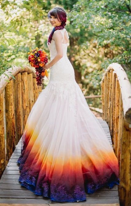 Dip Dyed Wedding Dresses Are The Gorgeous New Bridal Trend Marching Down The Aisle Unique Wedding Dresses Color Colored Wedding Dresses Wedding Dresses Unique