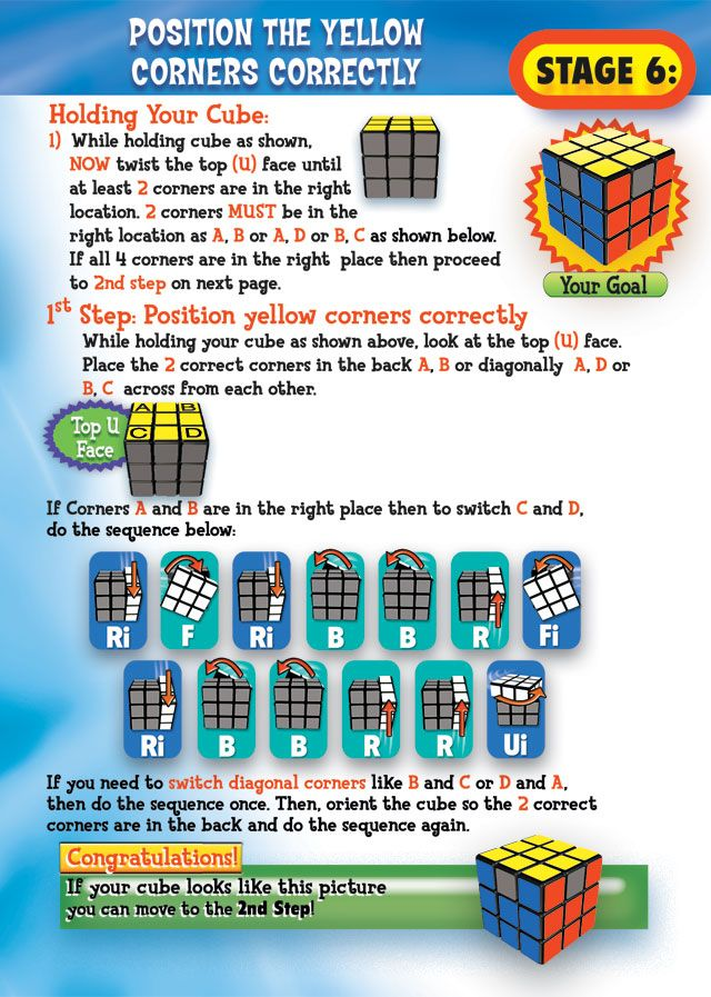 Rubik\'s 3x3 Solving Guide Stage 6 Page 8 | Rubikscube | Pinterest ...