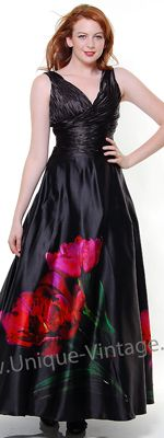 Black Beautiful Rose Print Ruched Prom Dress