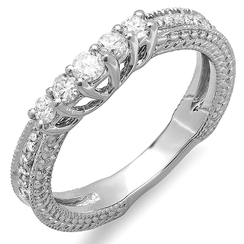 0.45 Carat ctw 14k White Gold Round Diamond Ladies