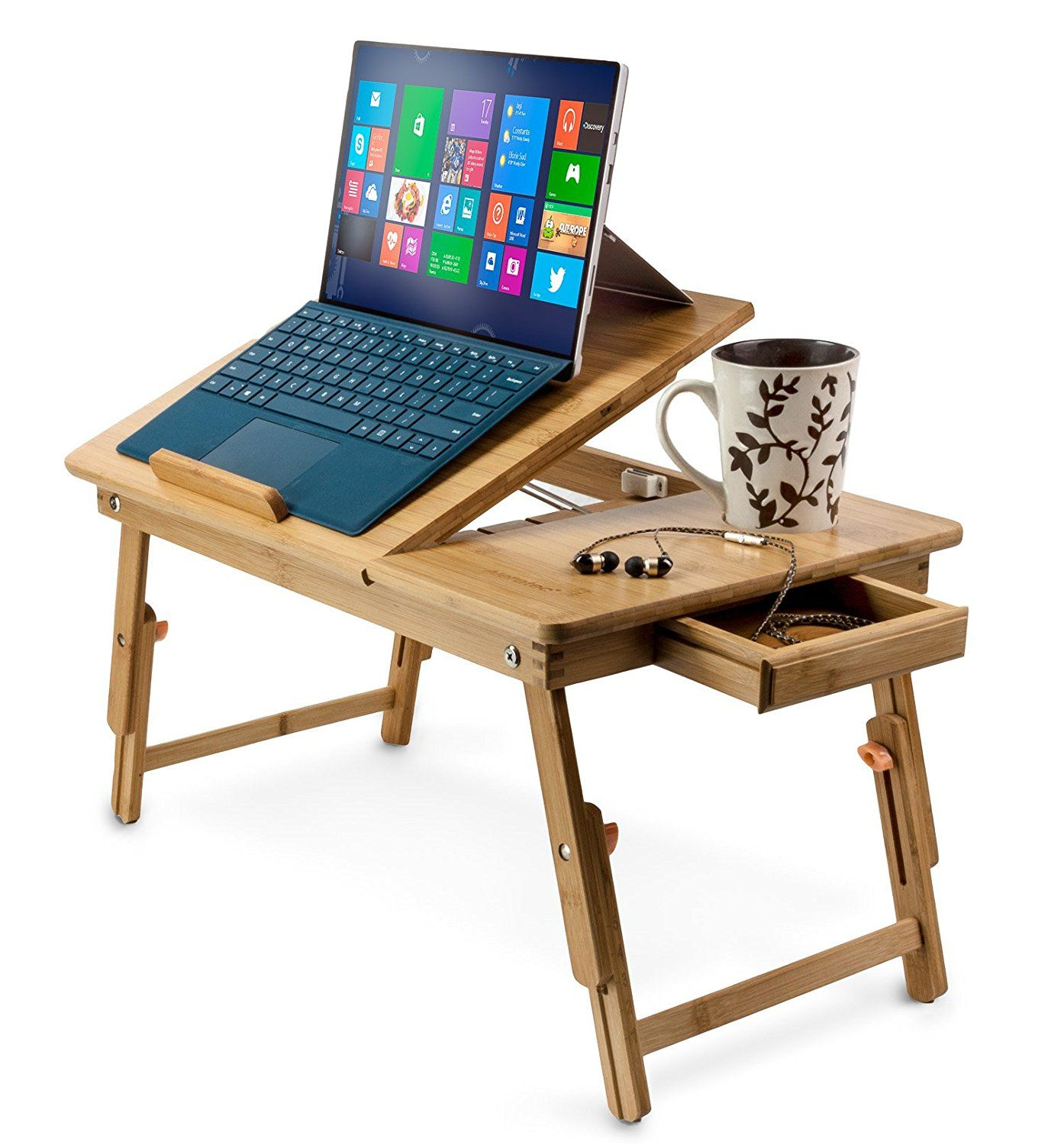 Amazon.com : Aleratec Natural Bamboo Adjustable Laptop Stand Up to 15in Folding Bed Table : Office Products