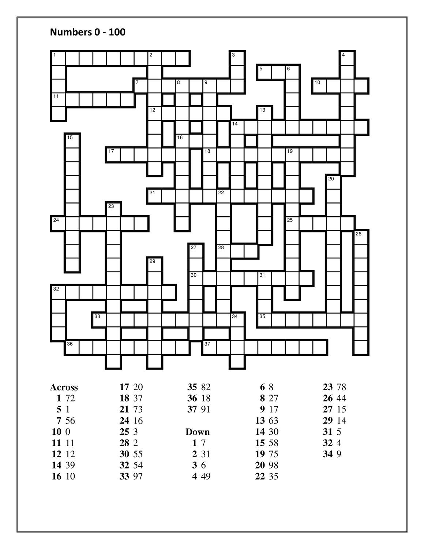 Numbers in English 20   12020 Crossword – Unterrichtsmaterial im Fach ...
