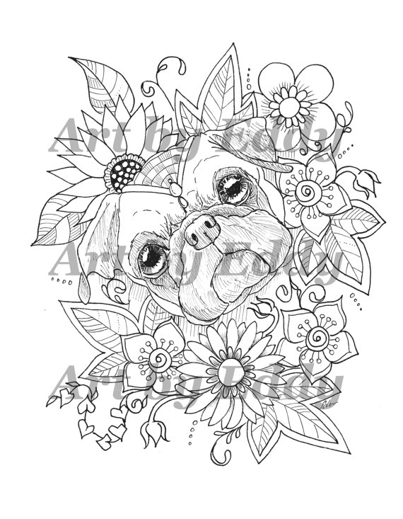 Art of Pug Single Coloring Page  Sunflower Pug  Coloring