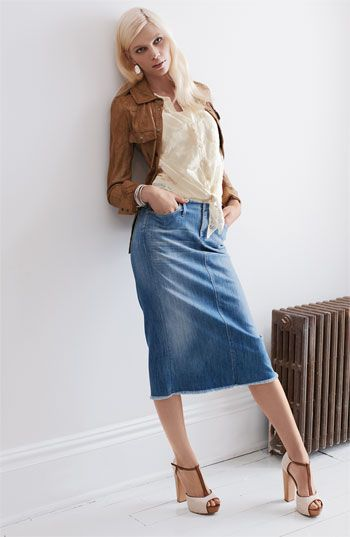 Little Bit Denim Slit Skirt | Slit Skirt, Skirts and Clothes