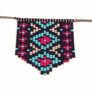 Native American Inspired Geometric Beaded Necklace - Geometric Necklace - Indian Necklace - Fringe Necklace by arlene