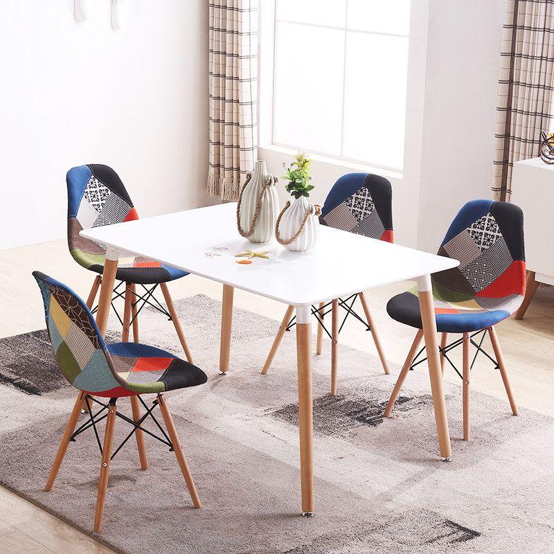 ensemble de 4 mi siecle moderne style patchwork rembourres a manger chaise en bois jambe salle a manger eiffel cote chaise de meubles en bois