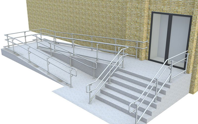 8 Top Mid Bottom Ada Railing Ramp Stairs Wheelchair Ramp   Handicap Handrails For Stairs   Grab Bars   Deck Railing   Stainless Steel   Ada Compliant   Wheelchair Ramp
