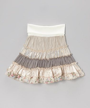 For Sammy:Take a look at this Cream Metallic Tiered Skirt by Zoe on #zulily today!