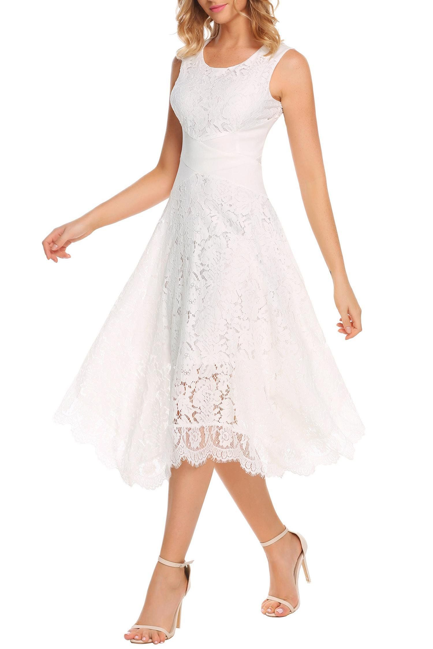 b97a08ab12b ANGVNS Womens O Neck Elegant Maxi Long Floral Lace Swing Bridesmaid Dress  White XXL     You can find more details by seeing the image web link.