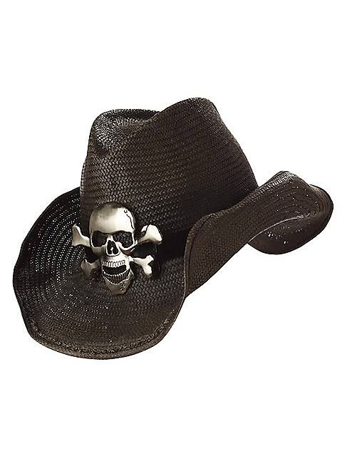 b4e9dee39b6 Black Cowboy Hat with Skull and Crossbones Adult