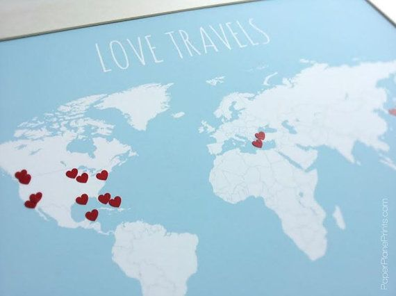 DIY Gift for Mom World Travel Map with Heart Stickers Traveler – World Traveler Maps