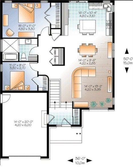 Plano de casa moderna de 10x15m planos de casas planos for Casa moderna parquet