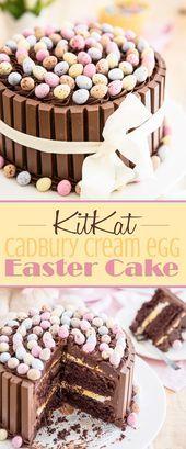 Easter KitKat Cake with Cadbury Cream Egg Filling  tchen Easter KitKat Cake with Cadbury Cream Egg Filling  tchen