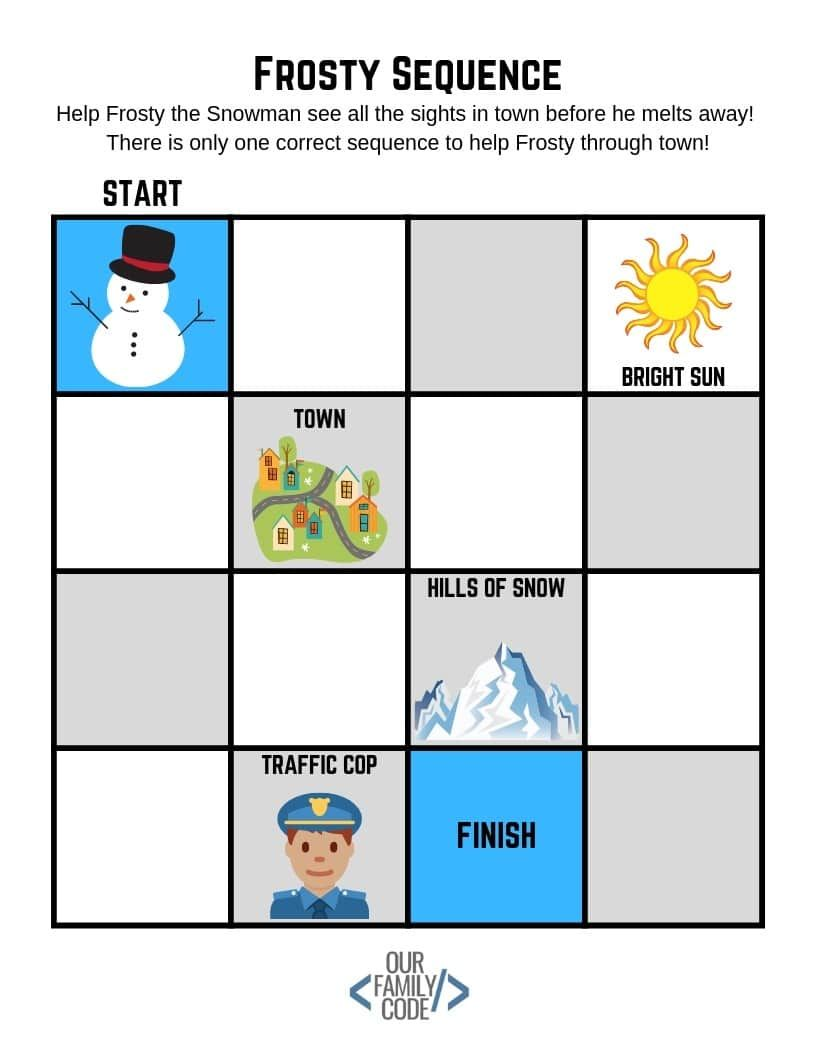 Winter Coding Worksheet Frosty Sequences Our Family Code Coding For Kids Unplugged Coding Activities Winter Kindergarten Activities [ 1056 x 816 Pixel ]