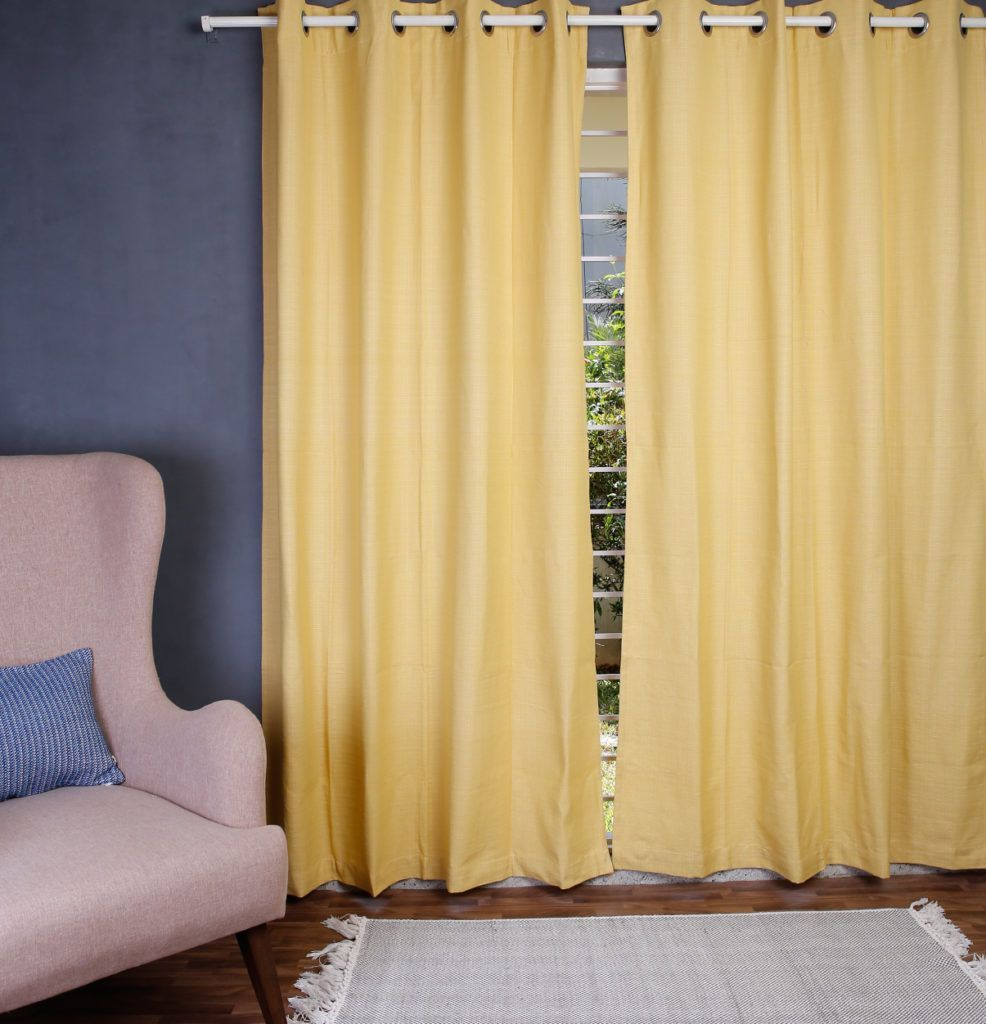 Yellow cotton curtain itus time for some chambray curtains that are