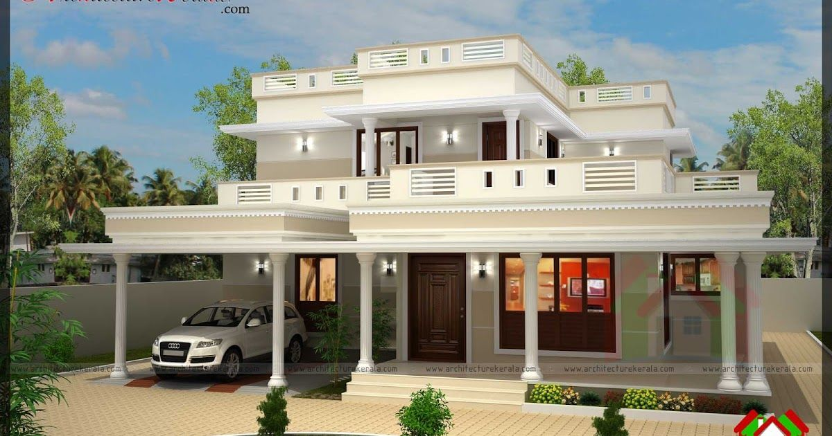Kerala Style House Plan And Elevation Four Bedrooms Provided Alla Have Attached Bathroo Kerala House Design Architectural Design House Plans Indian House Plans