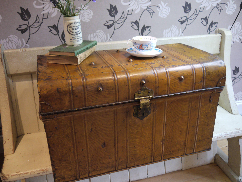 Vintage Travel Trunk Original Patina Coffee table trunk Tin