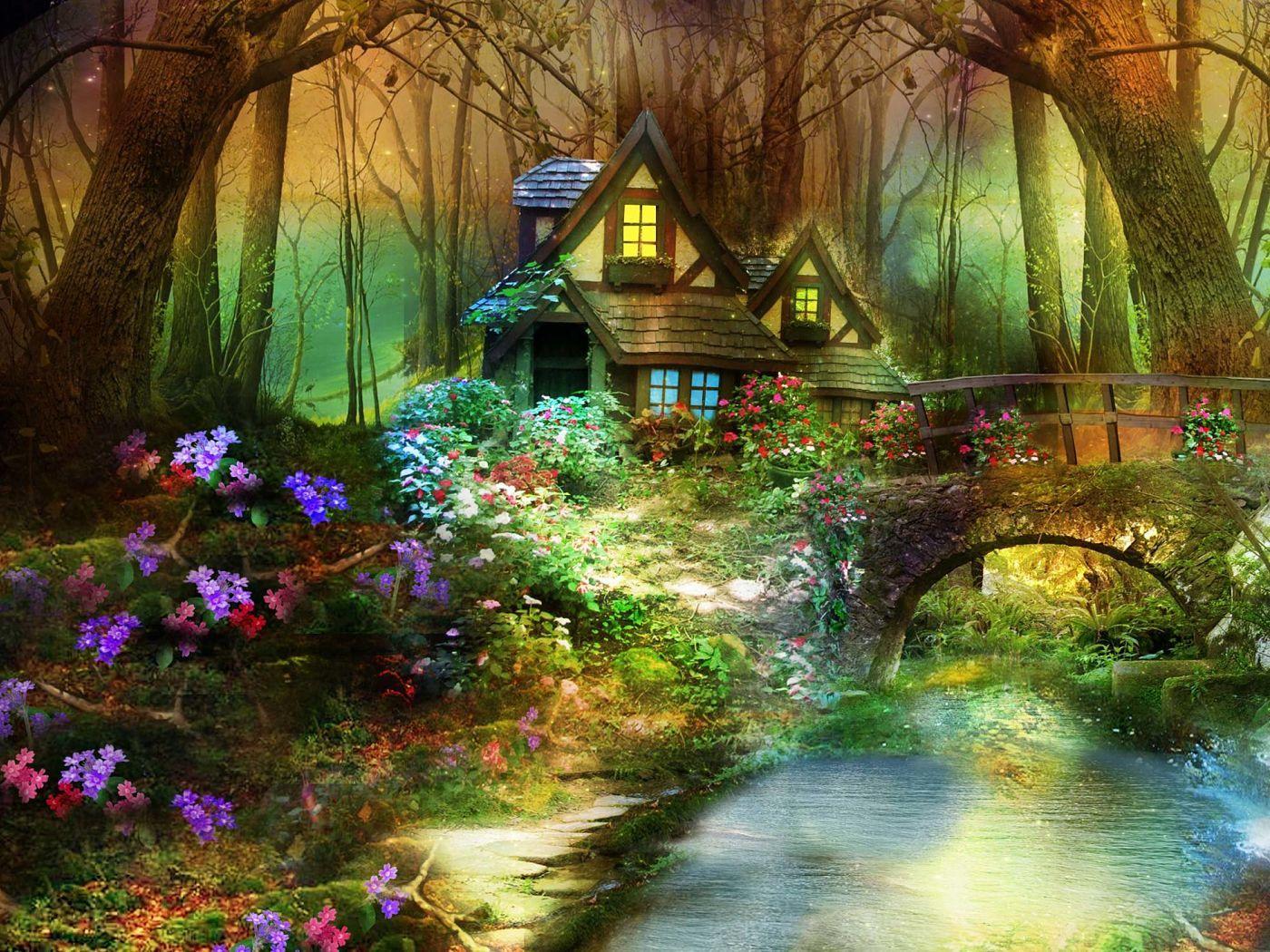 woodland house #digital #art #3d #creative #wallpaper | 3d