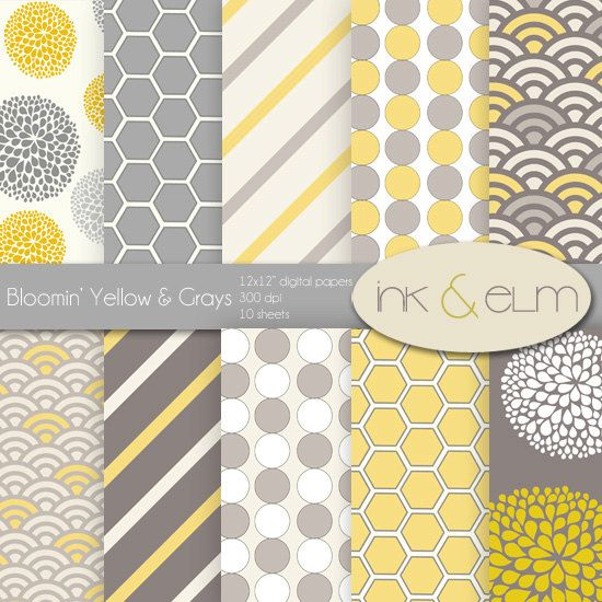 Digital Paper Yellow And Gray Yellow And Gray By Inkandelm 495
