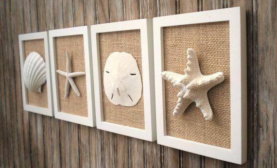 Photo of Beach Cottage Chic Wall Art, Nautical Decor, Beach House Wall Decor, Coastal Decor, Beach Decor, Coastal Wall Art, White & Natural Burlap