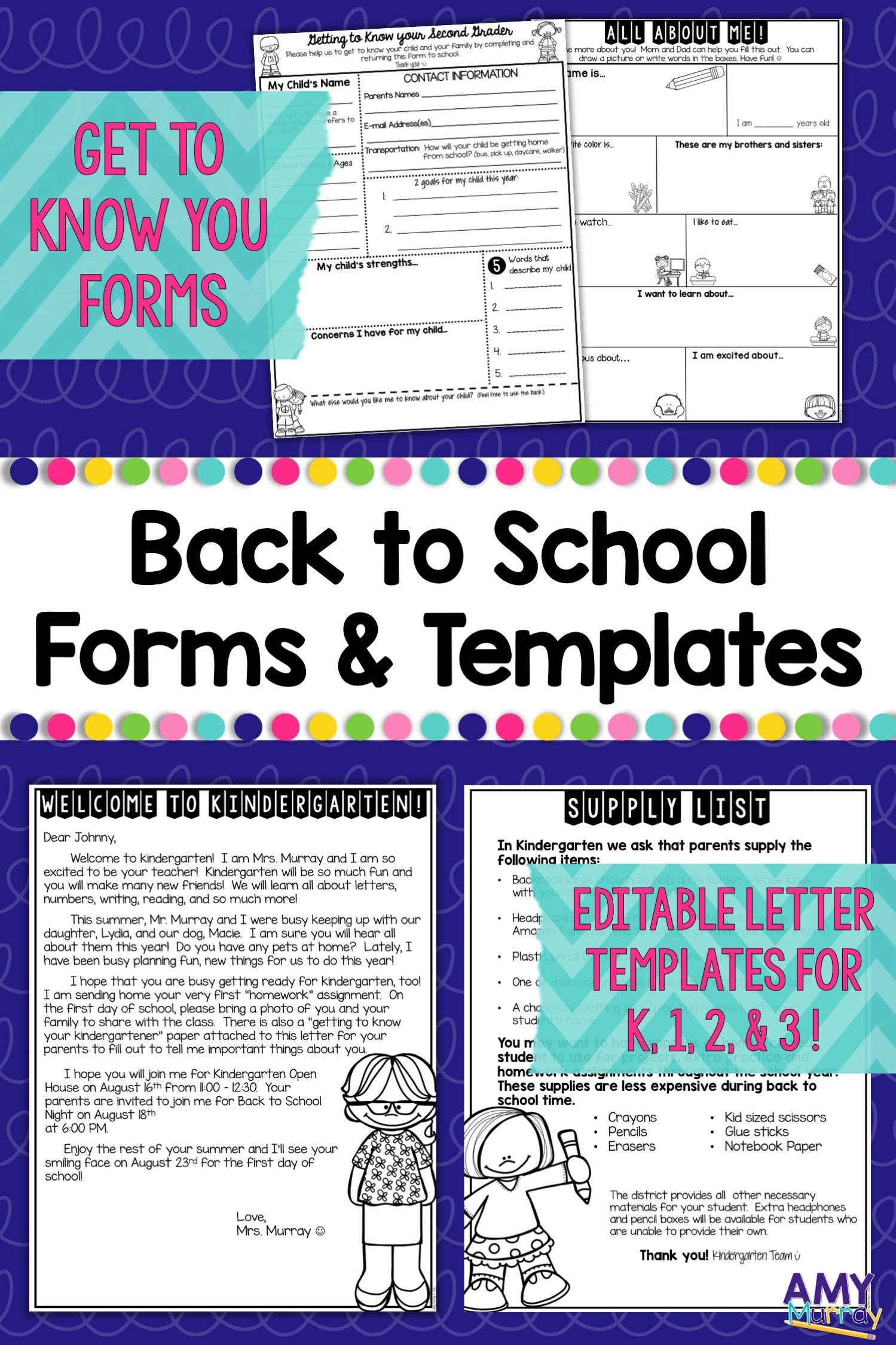 Back to School Forms and Teacher Introduction Letter Template ...