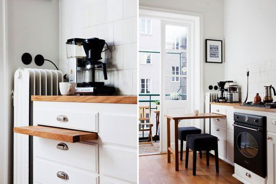 A Smart Dining Solution For Tiny Kitchens A Pull Out Tabletop Hidden In The Cabinets Kitchen Design Small Small Kitchen Inspiration Small Kitchen Tables