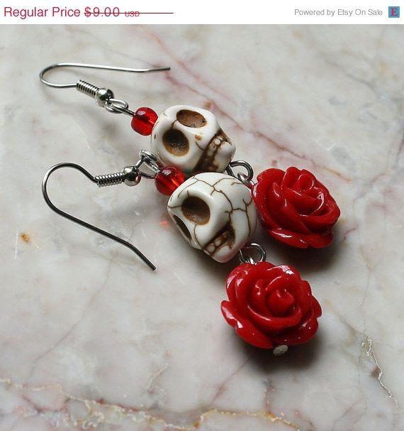 SALE Day of the Dead Earrings  Dia de los Muertos Frida Kahlo Señorita Red Rose Turquoise Sugar Skull Earrings Dangle Hypoallergenic Earring on Etsy, $8.25 CAD