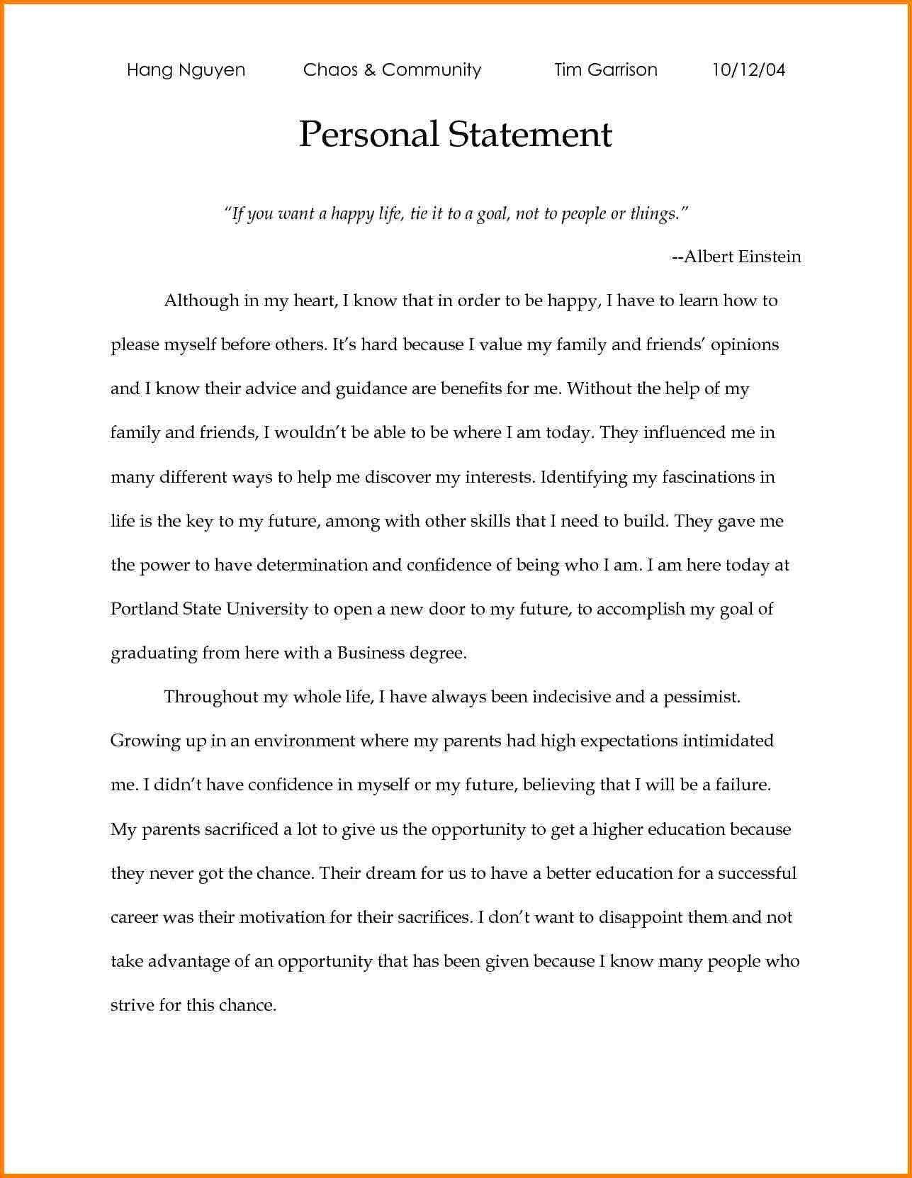 Graduate School Personal Statement Template New 7 Grad Example Essay Of Journalism Statements