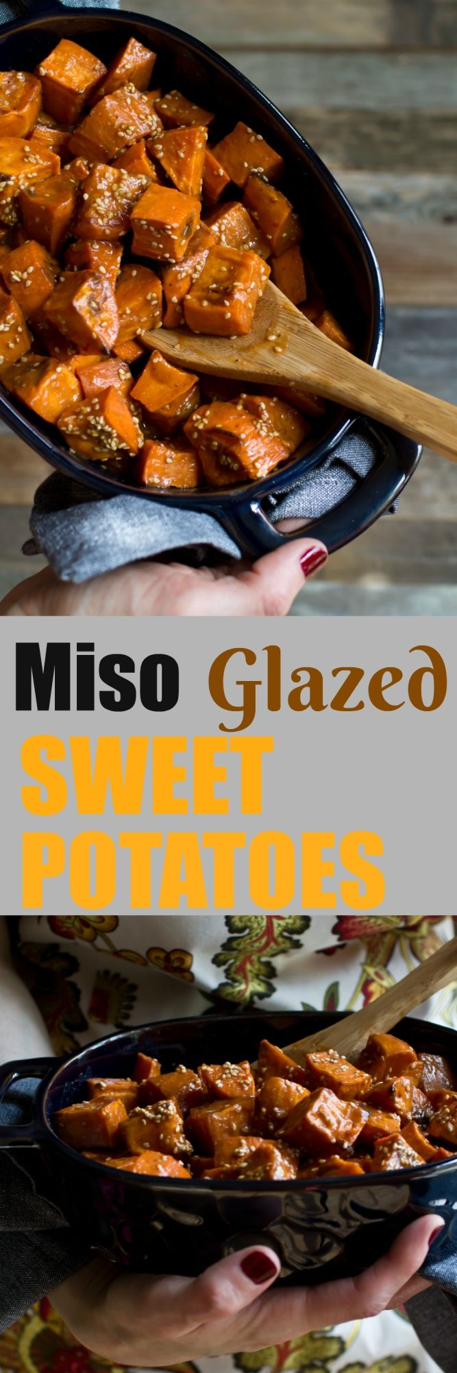 These Miso Glazed Sweet Potatoes are inspired by the True Food Ancient Grains bowl. These are easy to make, are sweet, salty, tangy and with a kick of heat. Bonus that my version is oil-free! via @thevegan8