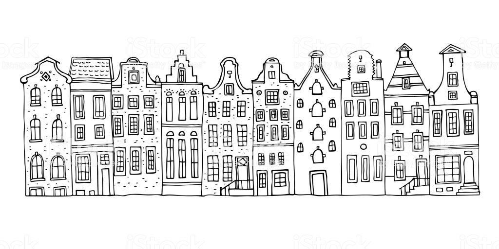 Amsterdam Vektorgrafik Skizze Hand Gezeichnet Cartoon Gliederung Hauser Fassaden In Folge Isoliert Auf We Hauser Zeichnen Beziehungs Bilder Weisser Hintergrund