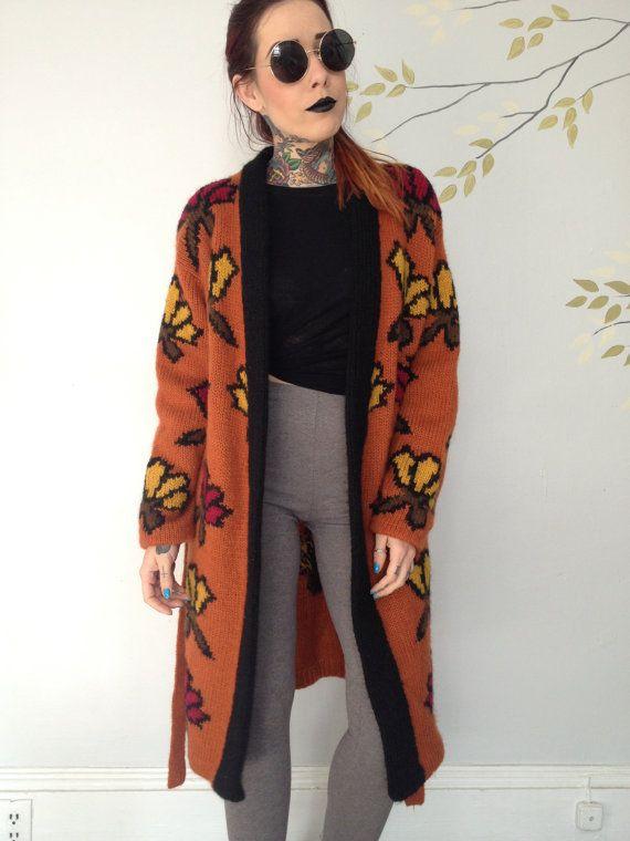 Vintage burnt orange knit long cardigan coat | Vintage Clothes ...