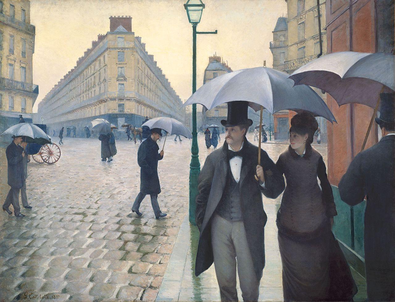 From Wikiwand: Гюстав Кайботт. Дождливый день в Батиньольском квартале 1877. Институт искусств, Чикаго