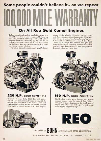 1955 REO Gold Comet Truck Engines original vintage advertisement. Available with a 100,000 warranty. Features the 220 hp V-8 and the 160 hp Comet 6.