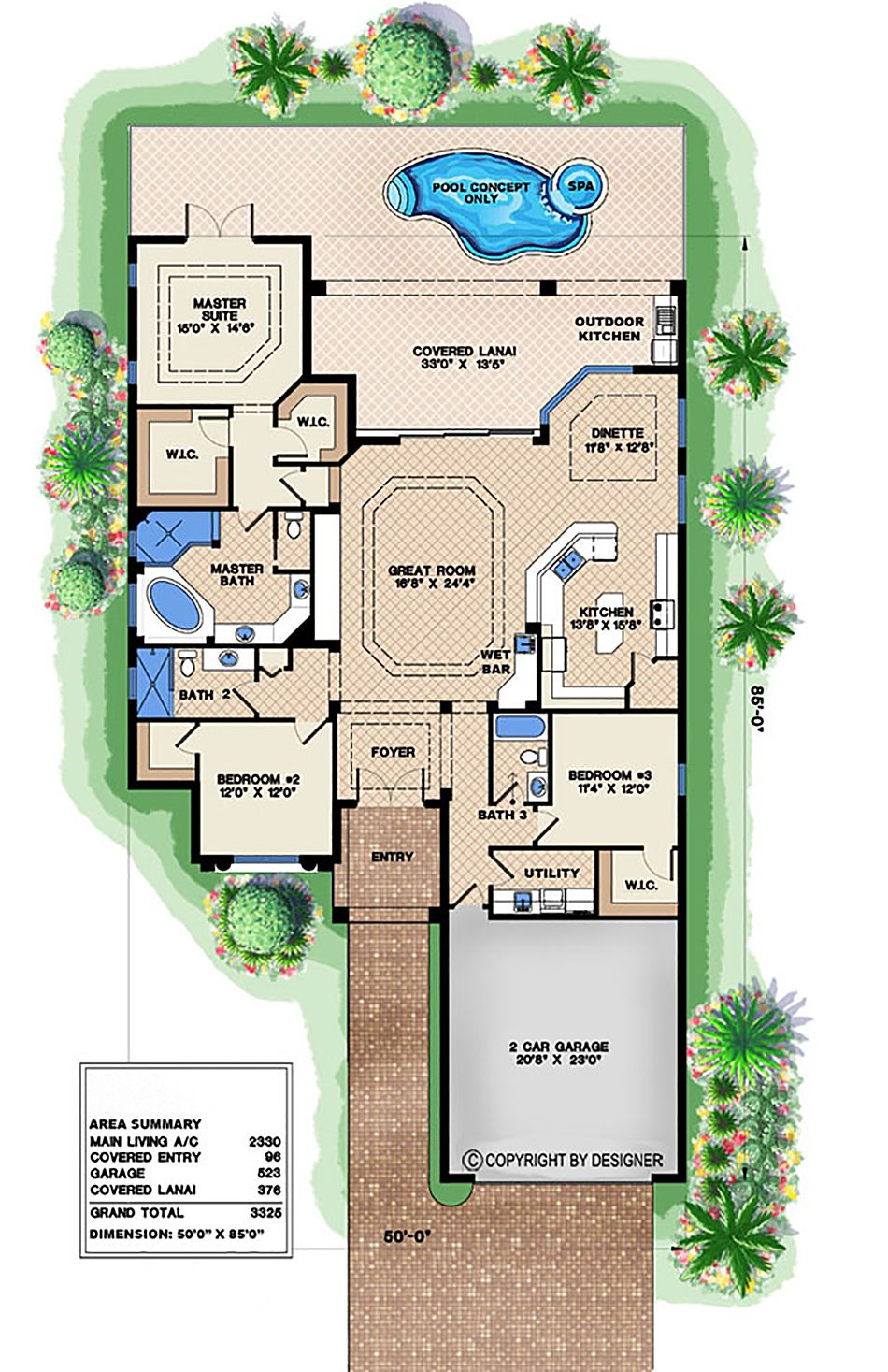 021294 | Narrow house plans, Coastal house plans, Florida house plans