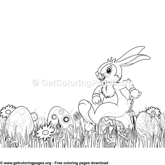 Happy Bunny in the Garden Coloring Pages | Garden coloring ...