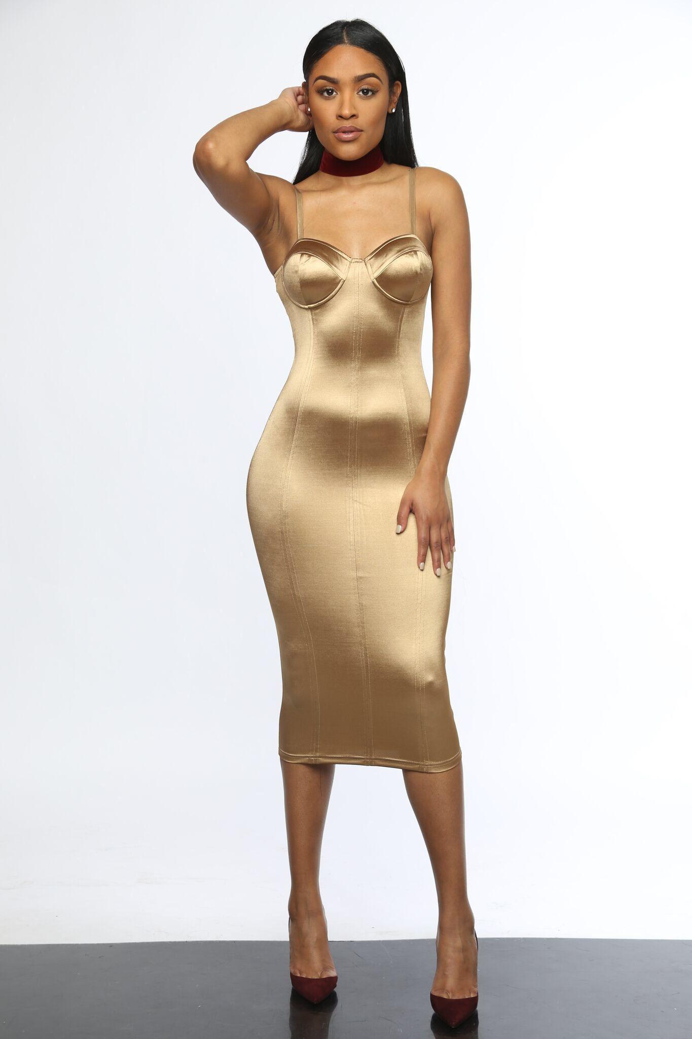 The Last Look Gold Silk Bodycon Dress  8cd7205d1d18