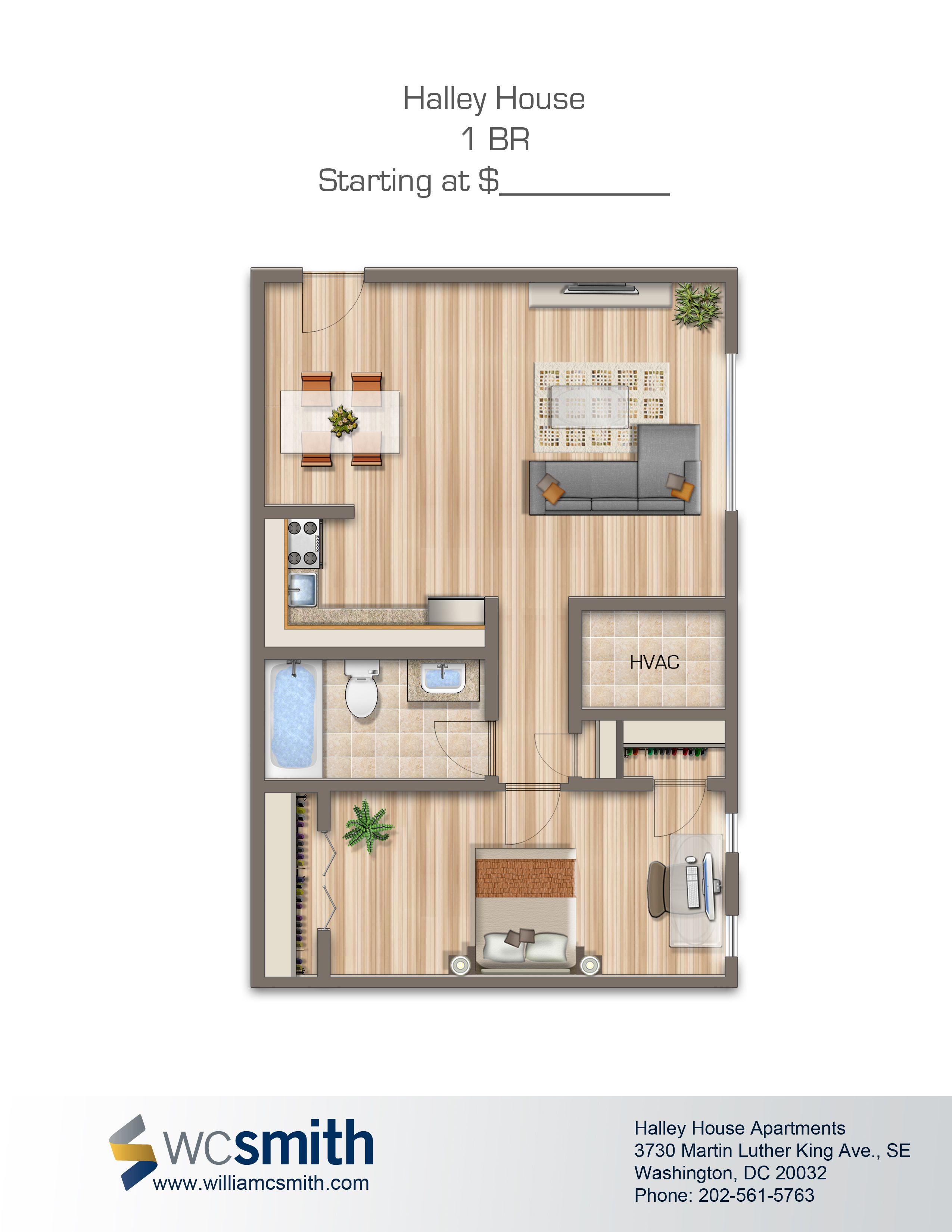 One Bedroom Floor Plan | Halley House In Southeast Washington DC | WC Smith  #Apartments