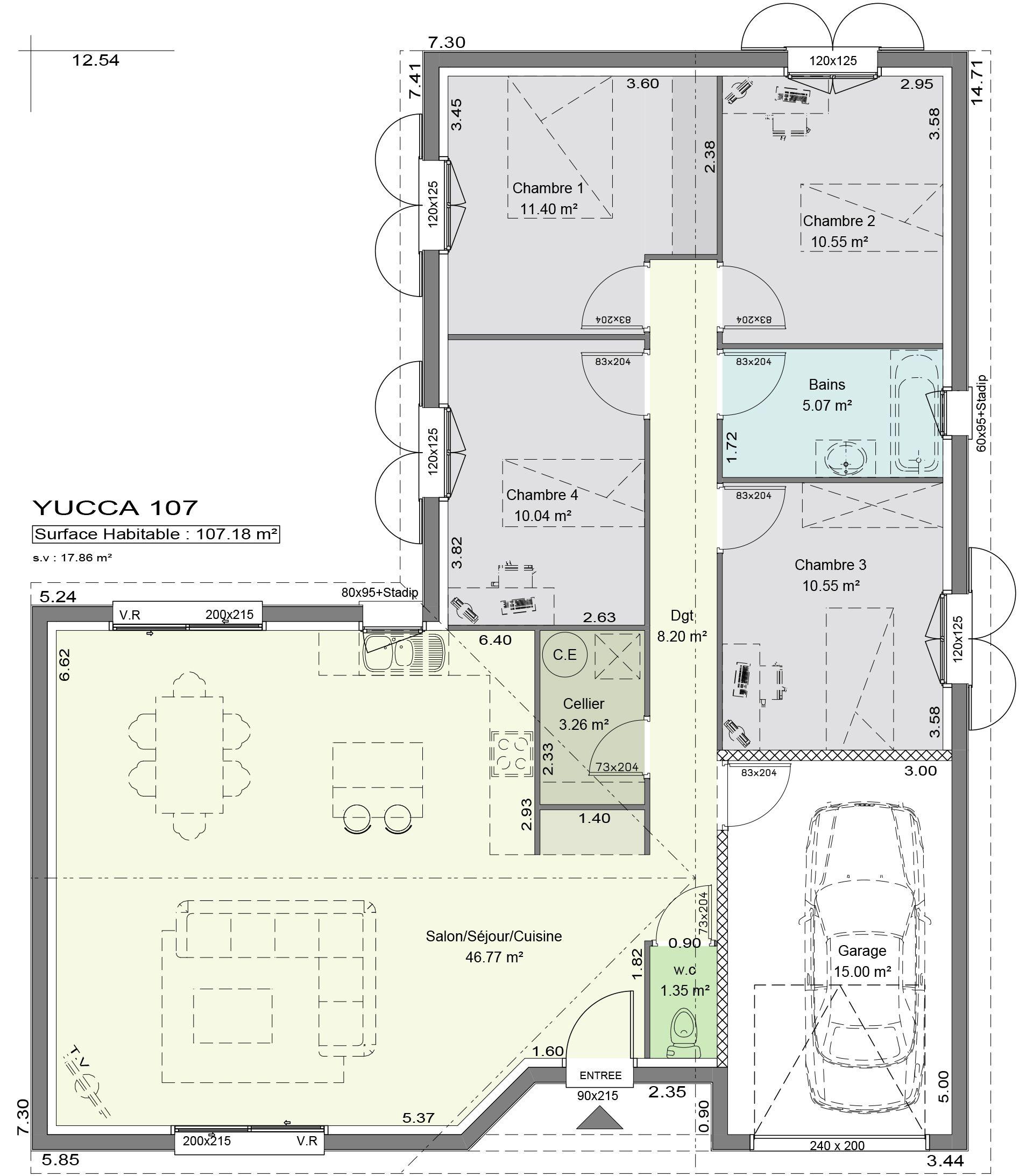 Plan Maison Contemporaine Yucca #amenagementmaisonchambre