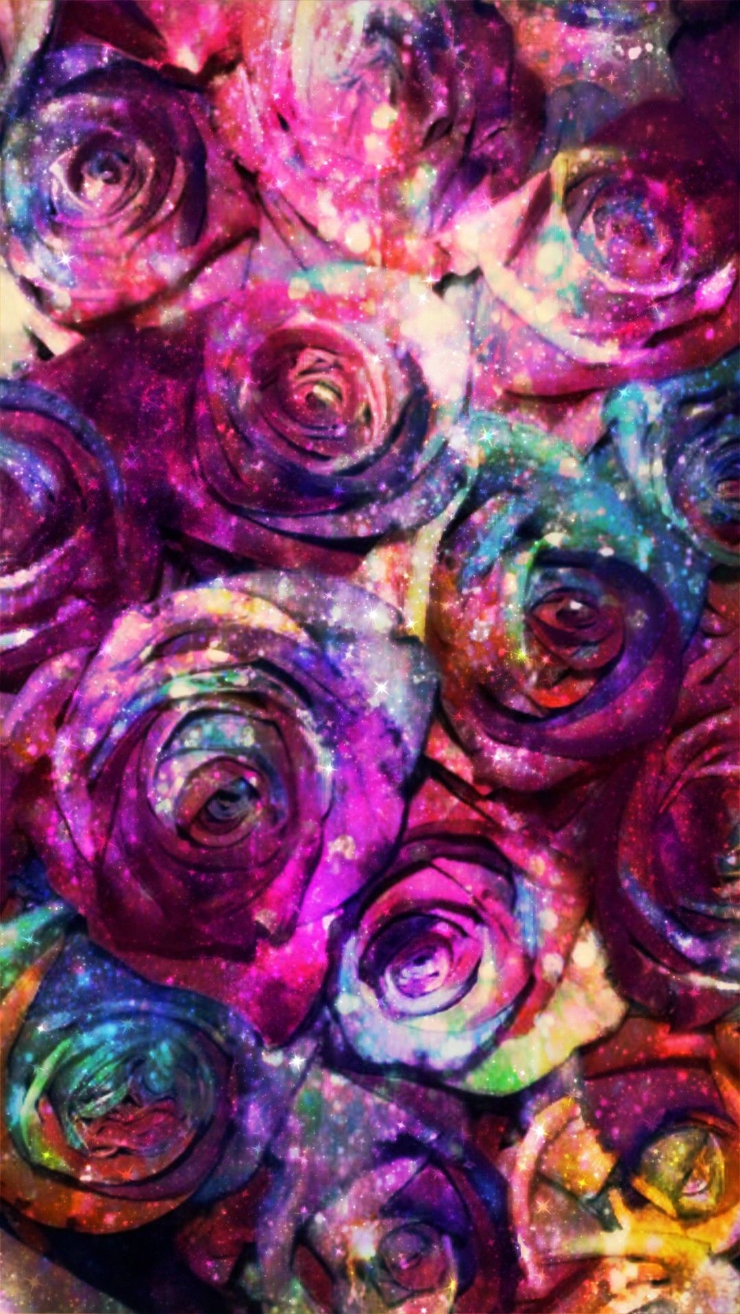 Galaxy Rainbow Roses Made By Me Purple Glitter Sparkles Galaxy Colorful Roses Flowers Floral Backgrounds Rainbow Roses Rose Wallpaper Colorful Roses