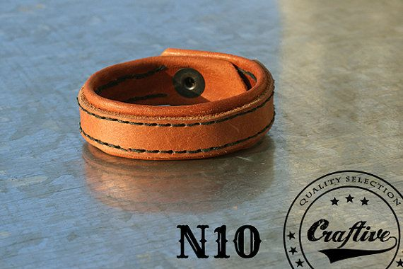 Wide Hand Stitched Men Genuine Leather Bracelet by CraftiveLeather