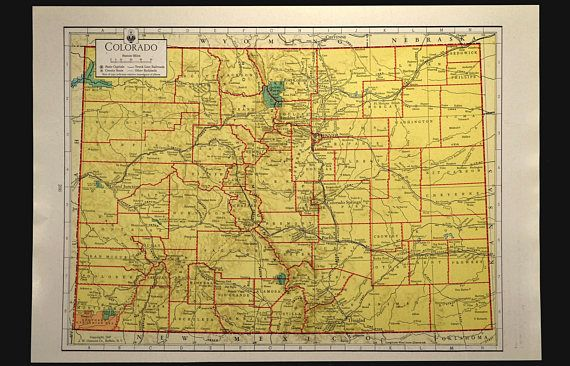 Colorful Yellow Vintage Colorado Map of Colorado Wall Art | Map Wall ...