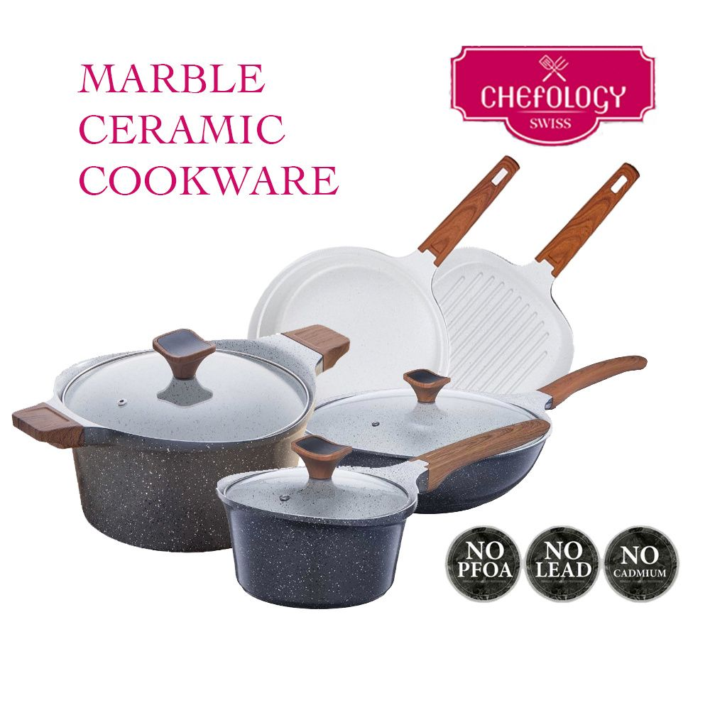 [S$49.90]( 50%)Chefology Marble Ceramic Cookware