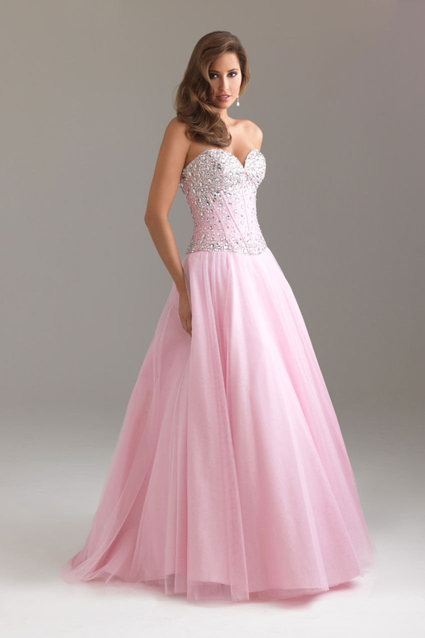 Pink Floor-Length Sweetheart Organza Lace-up Ball Gown Prom Dress ...