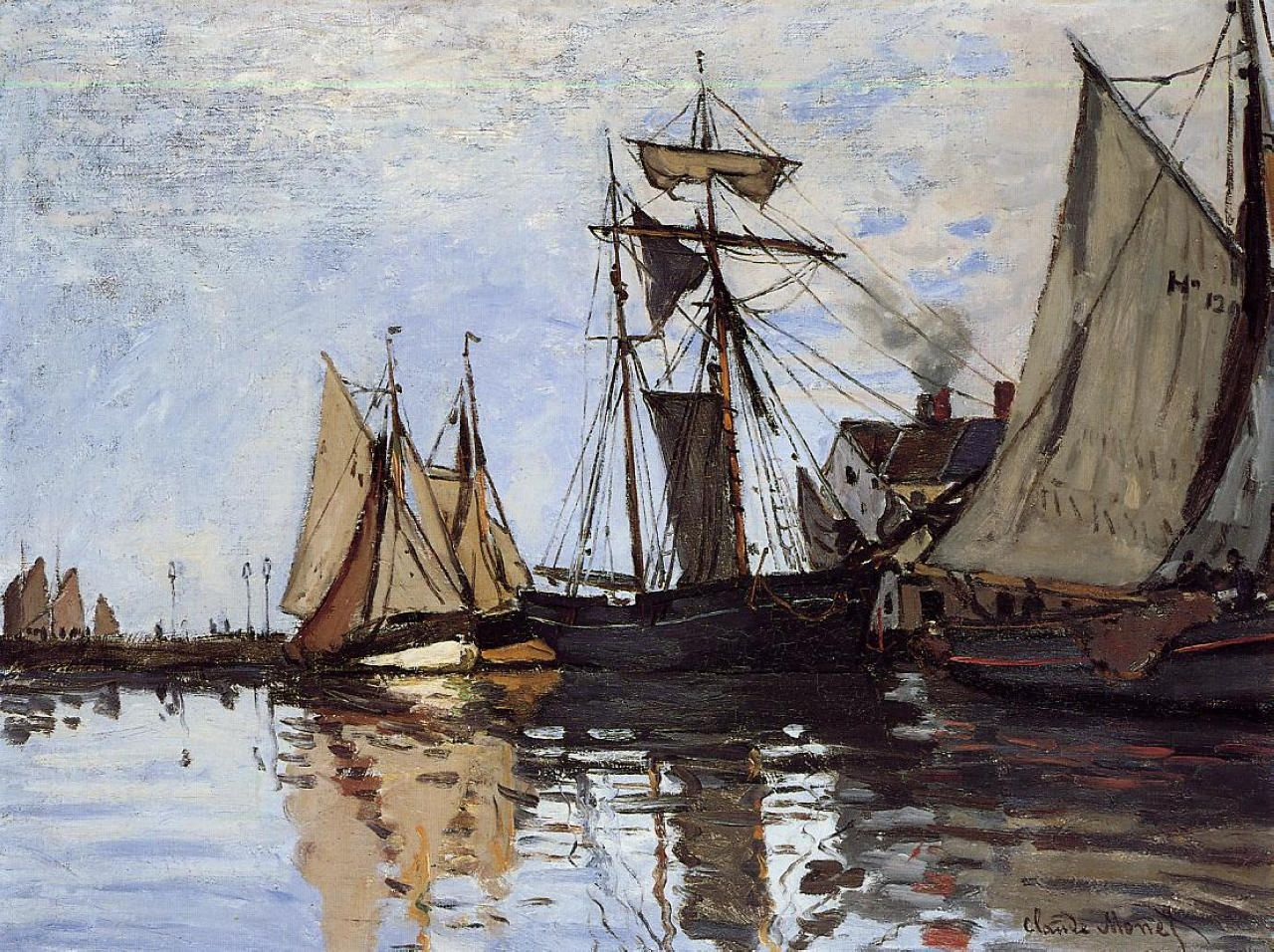 """""""Boats in the Port of Honfleur"""" by Claude Monet, Completion Date: 1866, Style: Impressionism."""