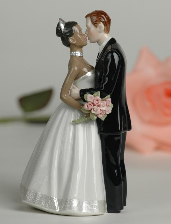Interracial Bi Racial Wedding Cake Topper African American Bride White Groom In Home Garden Supplies Toppers