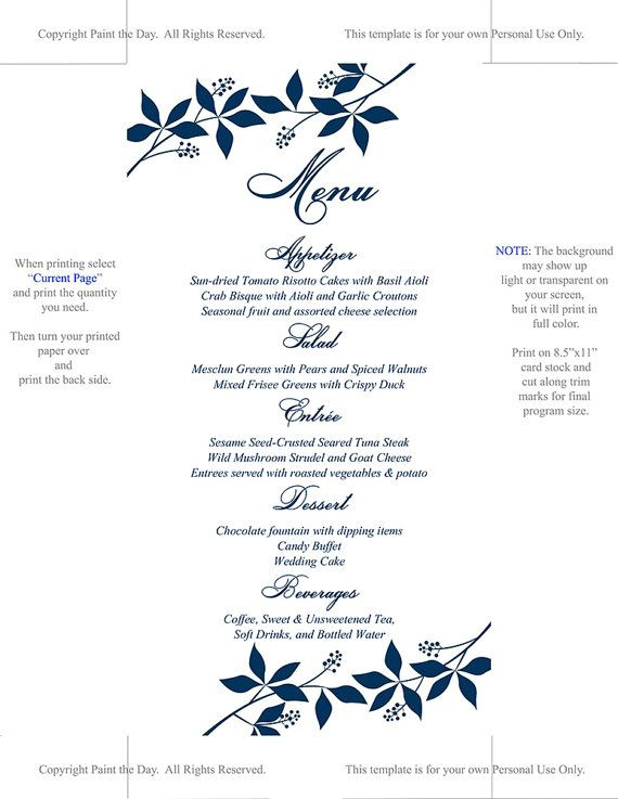 instantly download and print your own wedding menu cards with this
