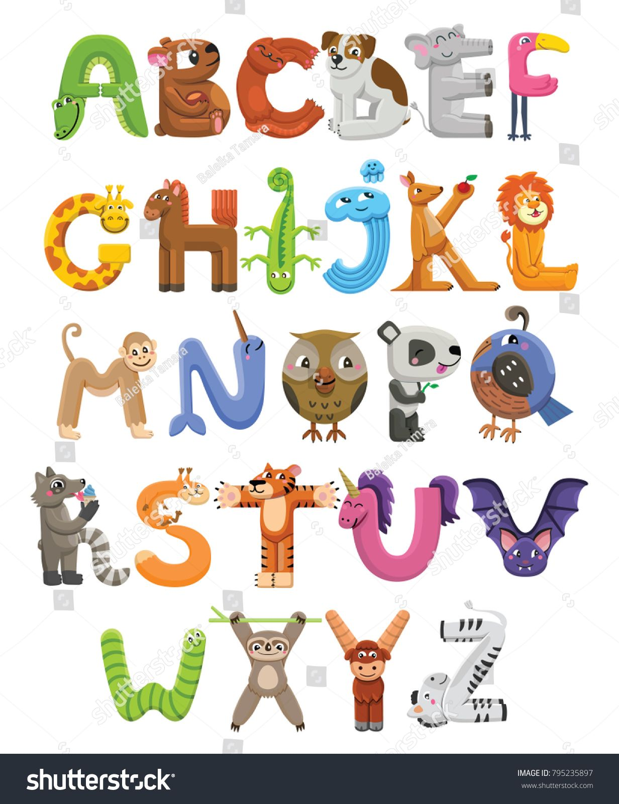 Zoo Alphabet Animal Alphabet Letters From A To Z Cartoon Cute Animals Isolated On White Background Differe Zhivotnye Alfavit Shrifty Detskie Fotografii Pisem