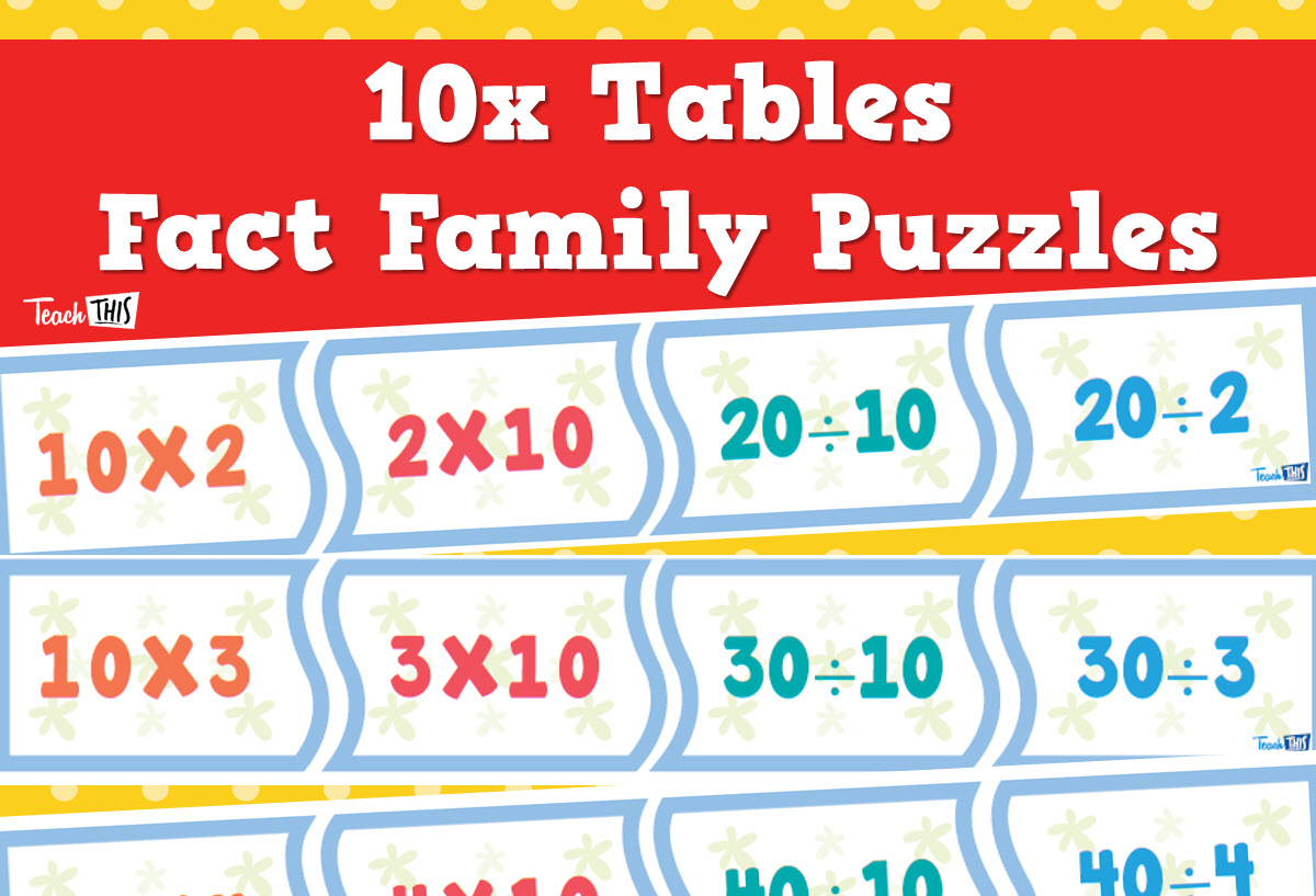 Times Tables Puzzles 10x Number Place Value Pinterest