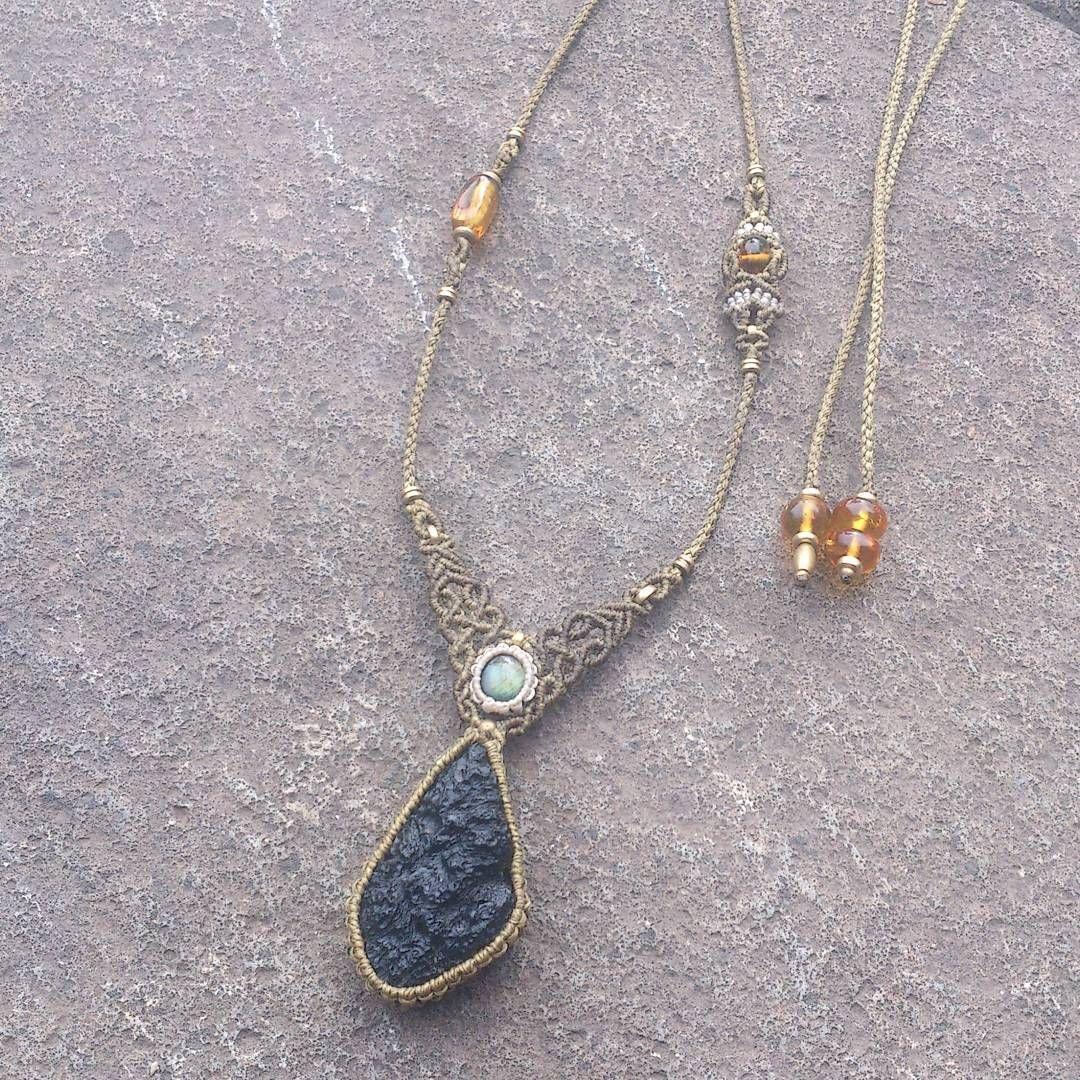 Moldavite × Labradorite ×Amber Necklace #kakerafromthearth #macrame #macramé #handmade #handcraft #moldavite #labradorite #amber #necklace #yoga #micromacrame #マクラメ #ハンドメイド #モルダバイト #ラブラドライト #アンバー...
